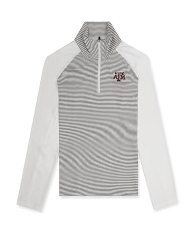 Texas A&M Cutter & Buck Ladies Forge Tonal Stripe Half Zip - White/ Polish - Front White/ Polish