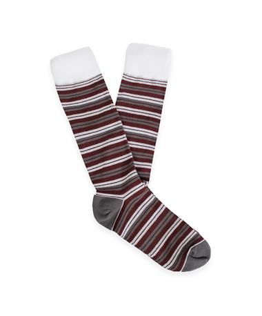 Maroon Grey & White Double Striped Men's Dress Socks