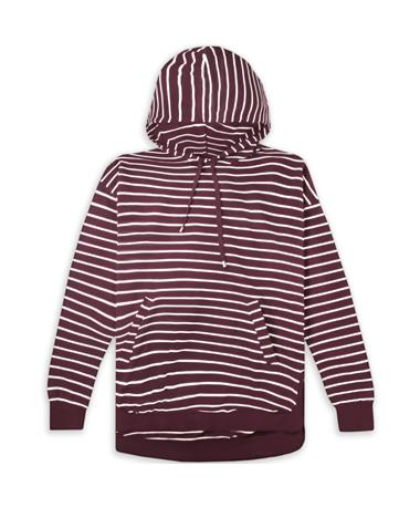Maroon Z Supply Striped Dakota Pullover Hoodie - Pearl/White - Front Pearl// Wine