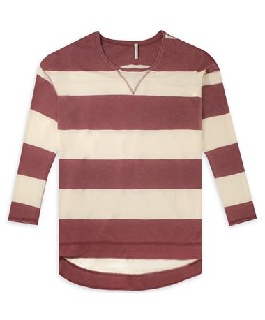 Maroon Z Supply Rugby Stripe Weekender Long Sleeve Top - Champagne/Berry - Front Champagne/ Berry
