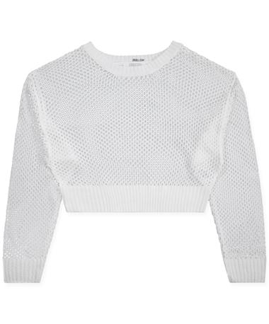 Open Weave Long Sleeve Sweater OFF WHITE