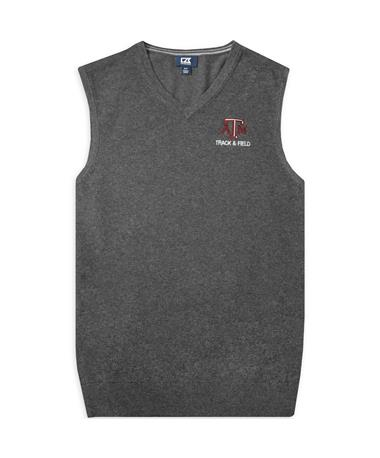 Texas A&M Cutter & Buck Lakemont Track & Field Vest CHARCOAL HEATHER