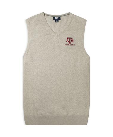 Texas A&M Cutter & Buck Lakemont Track & Field Vest - Oatmeal Heather - Front OATMEAL HEATHER