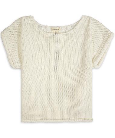 Rag Poets Fontelina Short Sleeve Sweater - White Cream - Front White Cream