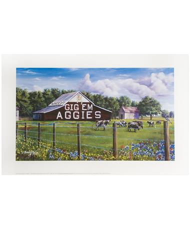 Texas A&M Benjamin Knox Gig'Em Aggies Barn Print