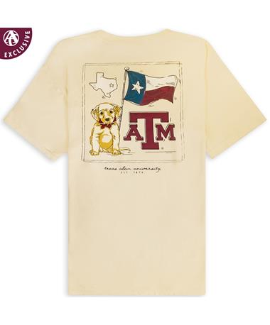 Texas A&M Puppy Texas Flag Pocket T-Shirt