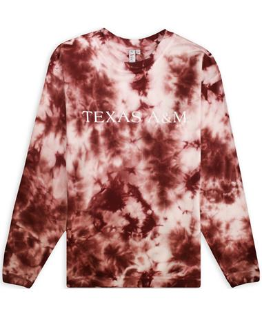 Texas A&M Maroon Tie Dye Corded Crew Sweatshirt