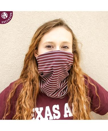 Maroon & White Striped Polyester Gaiter Face Mask