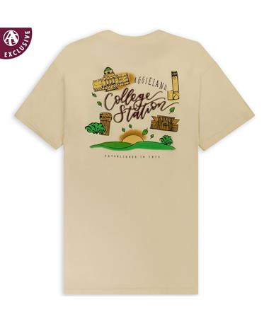 Texas A&M Watercolor Town T-Shirt