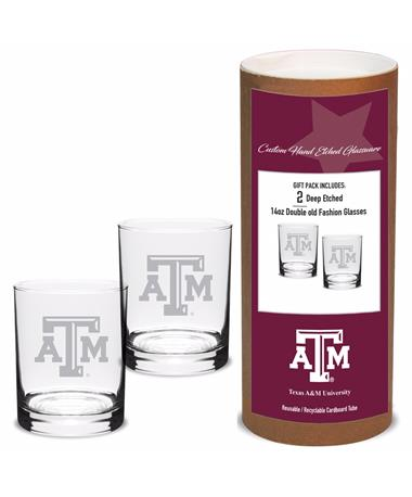DROPSHIP ITEM: Texas A&M Campus Crystal Old Fashioned Set