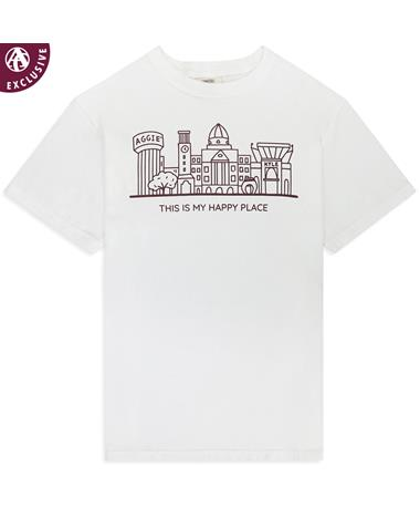 Texas A&M Happy Place Skyline T-Shirt