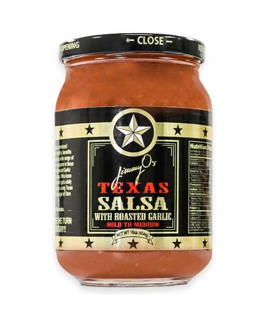 Jimmy O's Mild to Medium Roasted Garlic Texas Salsa