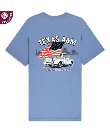 Texas A&M American Flag & Old Truck T-Shirt