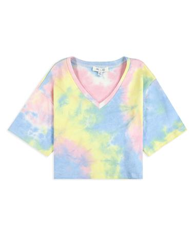 Pastel Tie Dyed V Neck Crop Top