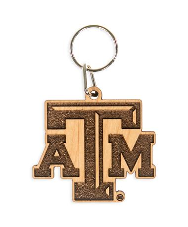 Texas A&M Wood Keychain