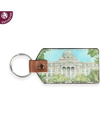 Academic Building Leather Keychain