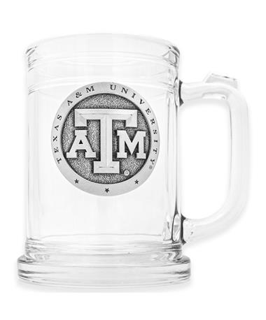 Texas A&M Heritage Pewter Glass Stein 15oz