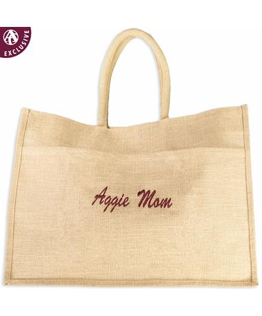 Aggie Mom Natural Jute Tote