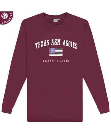 Texas A&M Aggies Arch Flag Long Sleeve T-Shirt