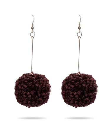 Maroon Pom Pom Earrings