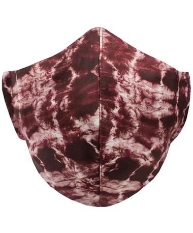 Maroon And White Tie-Dye Mask