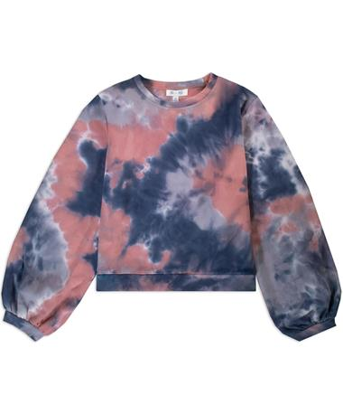 Coral French Terry Tie Dye Long Sleeve Top
