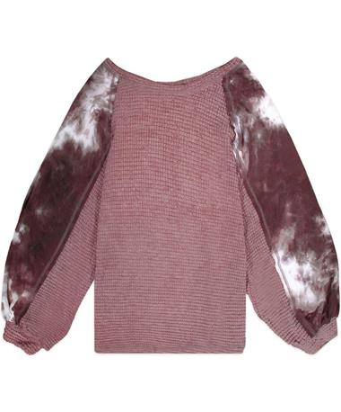Maroon Knit Thermal Tie Dye Sweater