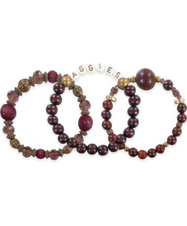 Maroon Aggies 3 Set Bracelets