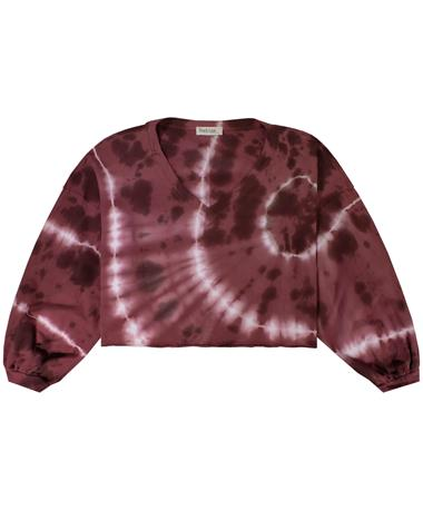 Maroon Tie Dyed V-Neck Knit Top