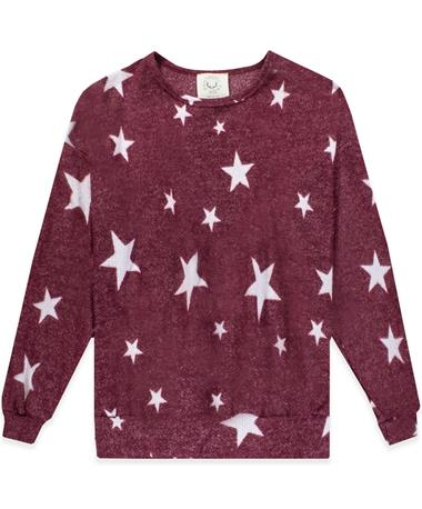 Maroon Star Print Knit Long Sleeve Sweater