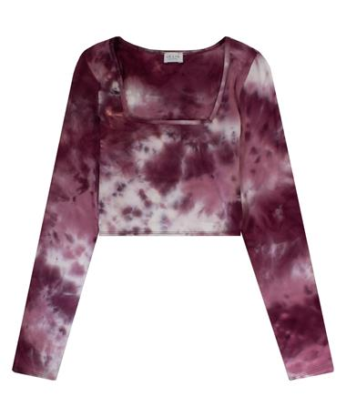 Maroon and White Tie Dye Long Sleeve Crop Top