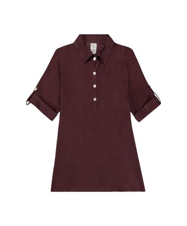 Maroon Collared Button Up Tunic