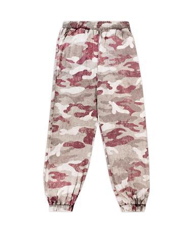 Maroon Camo Ladies Twill Jogger Pants