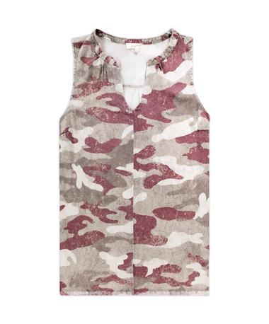 Maroon Camo Split Neck Tank Top