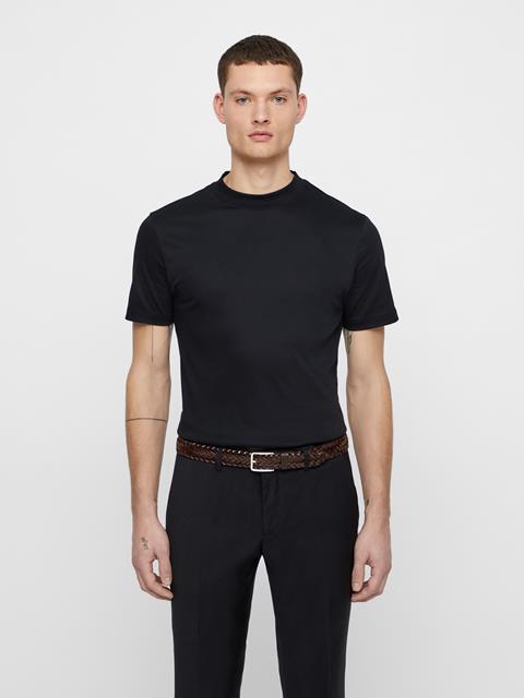 Mens Leather Braid Belt Dark Brown