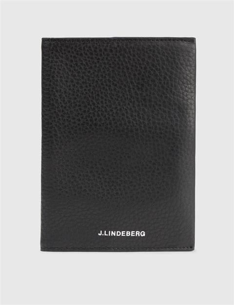 Mens Mix Leather Passport Black
