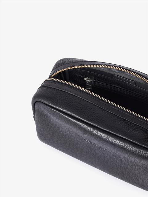 Mens Mix Leather Washbag Black