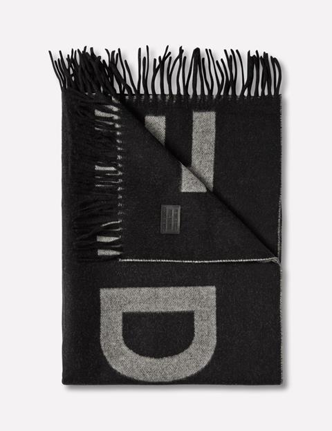 Womens Frame Jacquard Wool Scarf Black