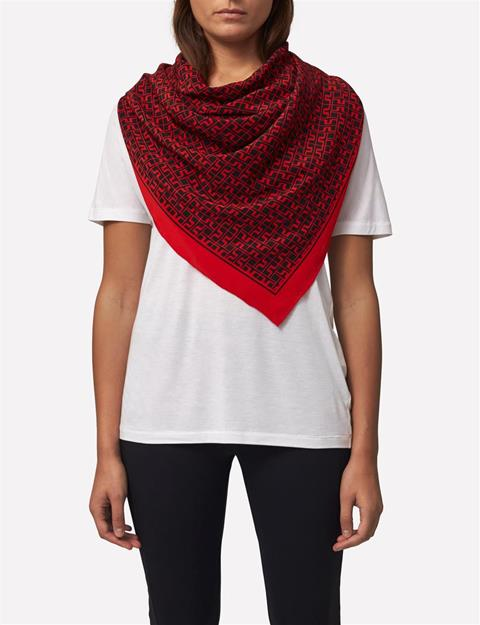 Womens Square Print Scarf Red Deep