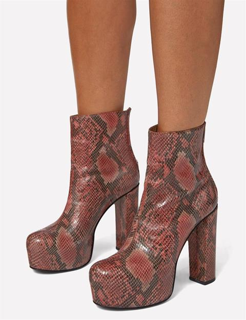 Womens Patent Snake Plateau Boot Dusty Rose Sanke