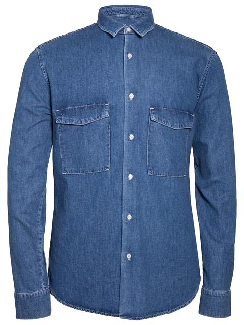 Mens David Grain Denim Shirt Mid Blue