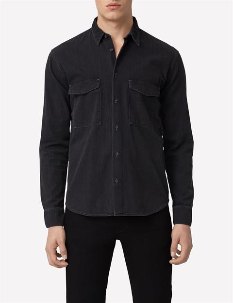 Mens David Smoke Denim Shirt Dk Grey
