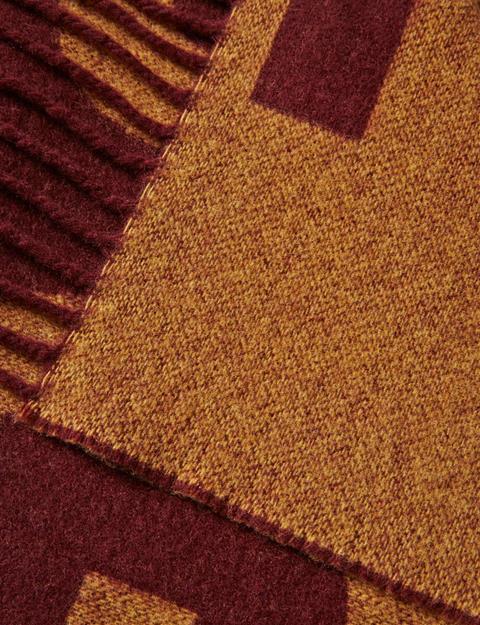 Mens Frame Jaquard Wool Scarf Dusty Burgundy