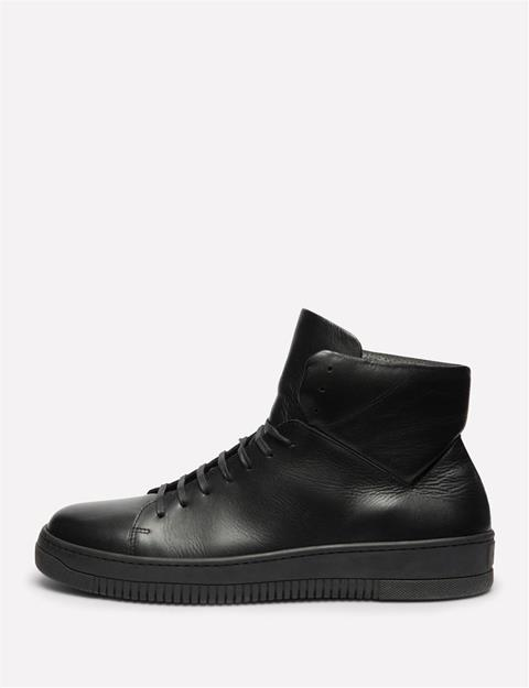 Mens High Top Leather Sneakers Black