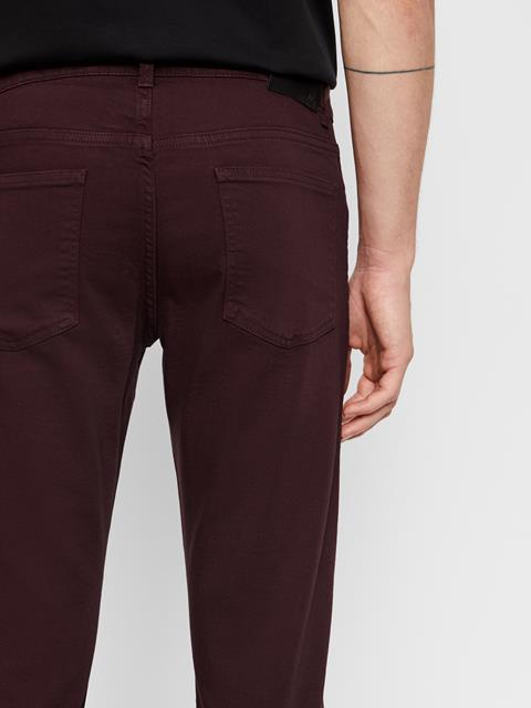 Mens Jay Solid Stretch Jeans Dusty Burgundy