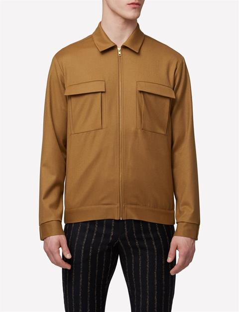 Mens Jason Zip Cash Light Shirt Dk Mustard