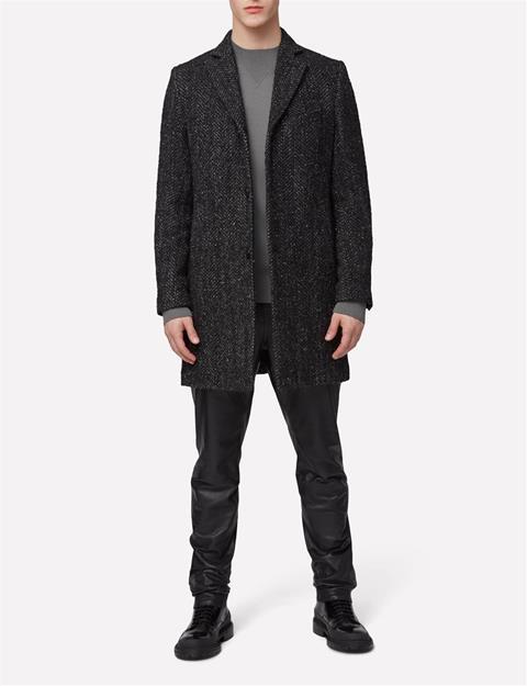 Mens Wolger Rock Wool Coat Black