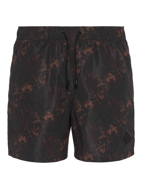 Mens Banks Pattern Swim Trunks Black