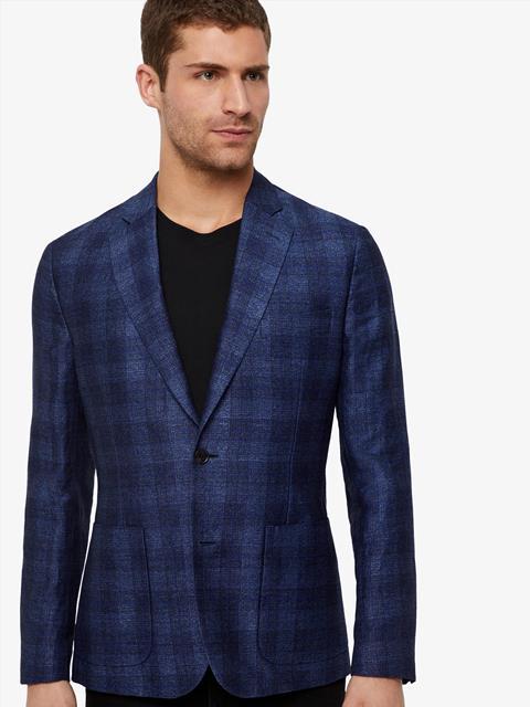 Mens Hopper Jacquard Check Blazer Mid Blue