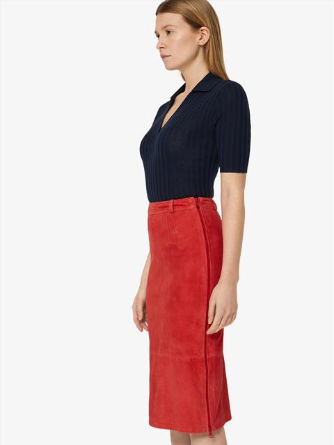 Womens Dixon Stretch Suede Pencil Skirt Racing Red